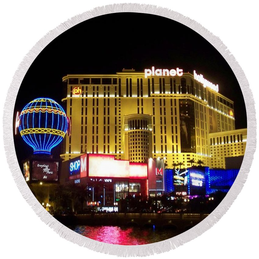 Vegas Round Beach Towel featuring the photograph Planet Hollywood By Night by Anita Burgermeister