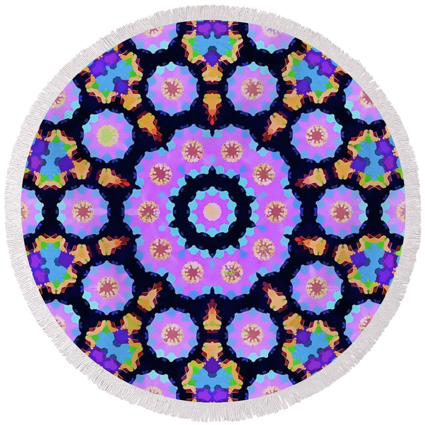 Mandala Art Round Beach Towel featuring the painting Planet by Jeelan Clark