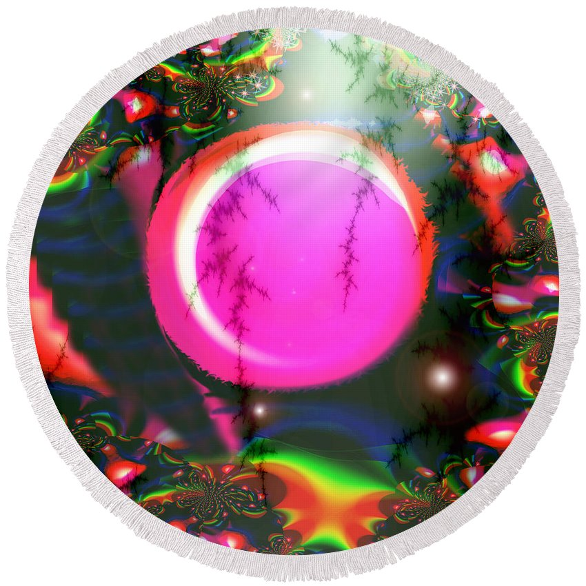 Planets Solar System Rainbow Stars Space Abstract Moon Orb Pink Colorful Round Beach Towel featuring the digital art Planet Rainbow by Andrea Lawrence
