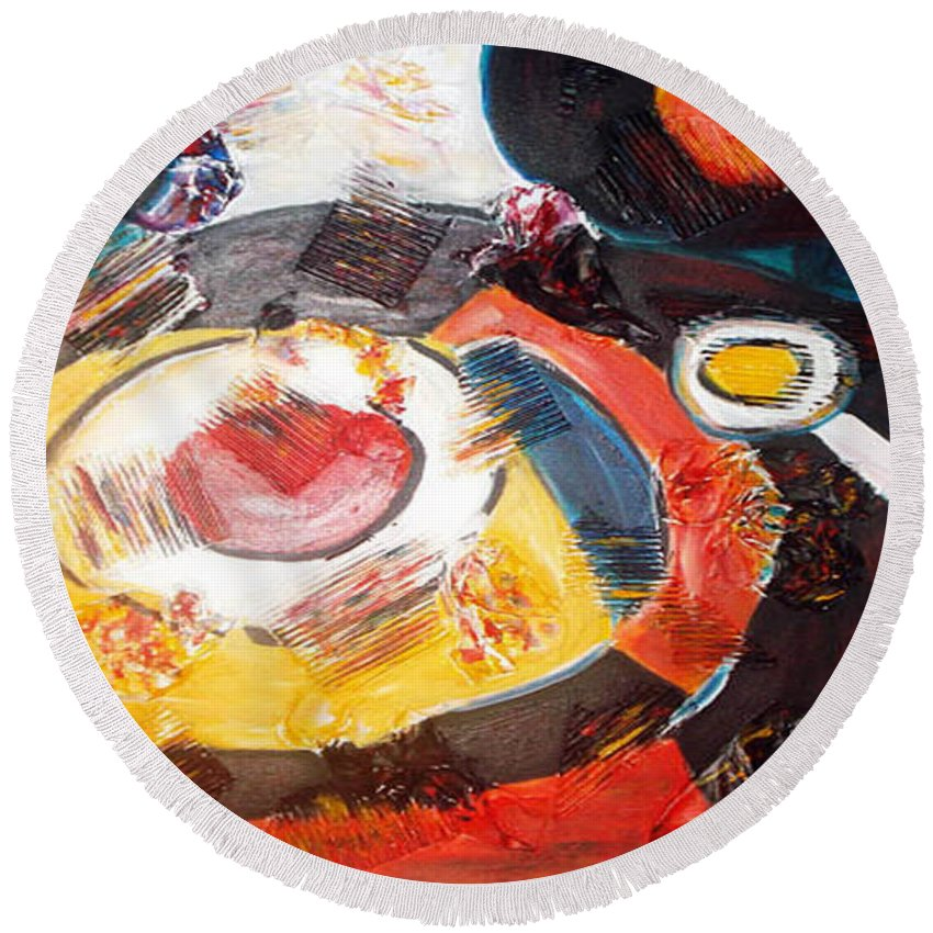 Acrylic Abstract Round Beach Towel featuring the painting Planets Exploration by Yael VanGruber