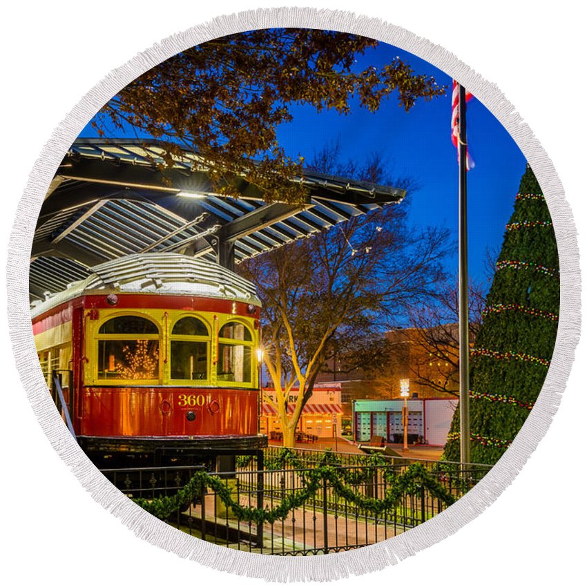 America Round Beach Towel featuring the photograph Plano Trolley Car by Inge Johnsson