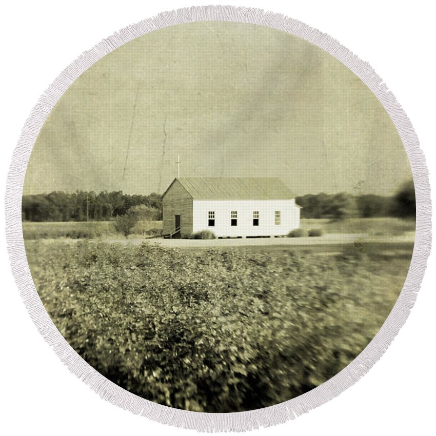 Church Round Beach Towel featuring the photograph Plantation Church - Sepia Texture by Scott Pellegrin