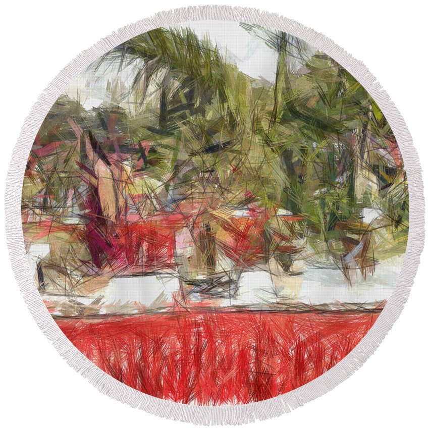 Exhibition Round Beach Towel featuring the photograph Plants On Stalls At An Exhibition by Ashish Agarwal
