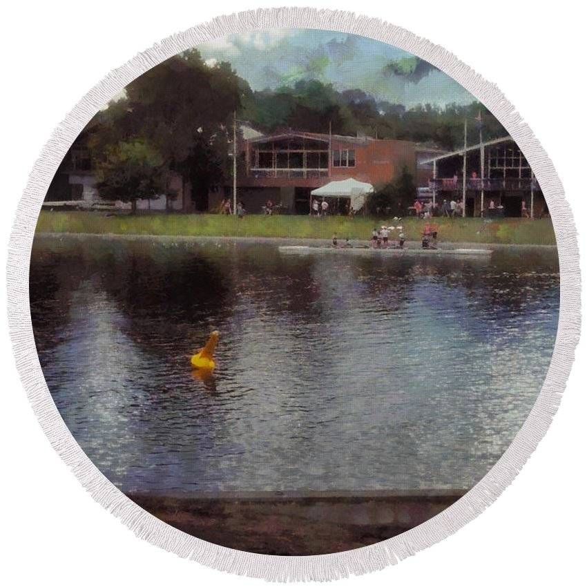 Lake Round Beach Towel featuring the photograph Plastic Buoy In Front Of A Lake by Ashish Agarwal