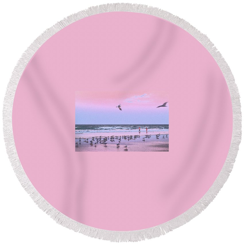 Beach Round Beach Towel featuring the photograph Play At The Beach by Laura Regier
