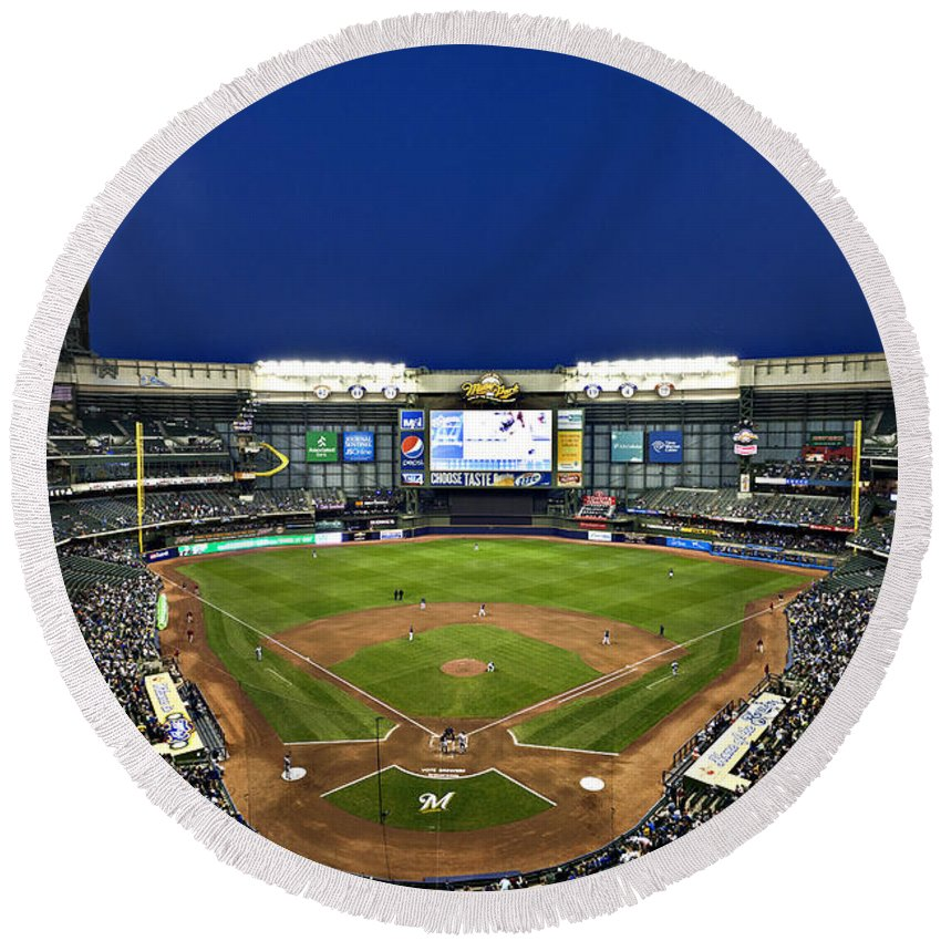 Miller Park Round Beach Towel featuring the photograph Play Ball by CJ Schmit