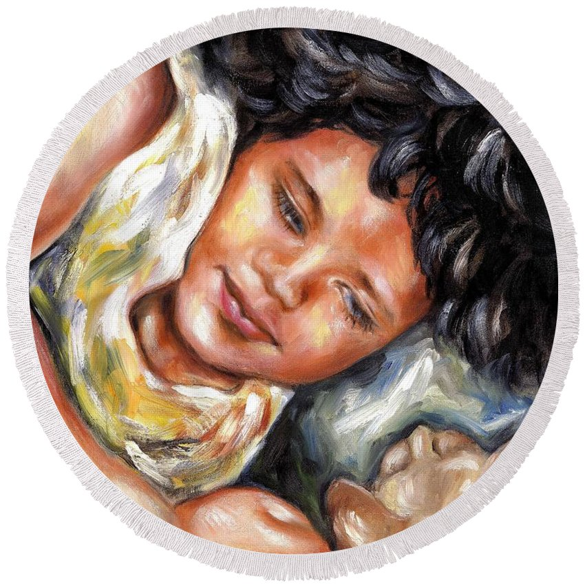 Child Round Beach Towel featuring the painting Play time by Hiroko Sakai