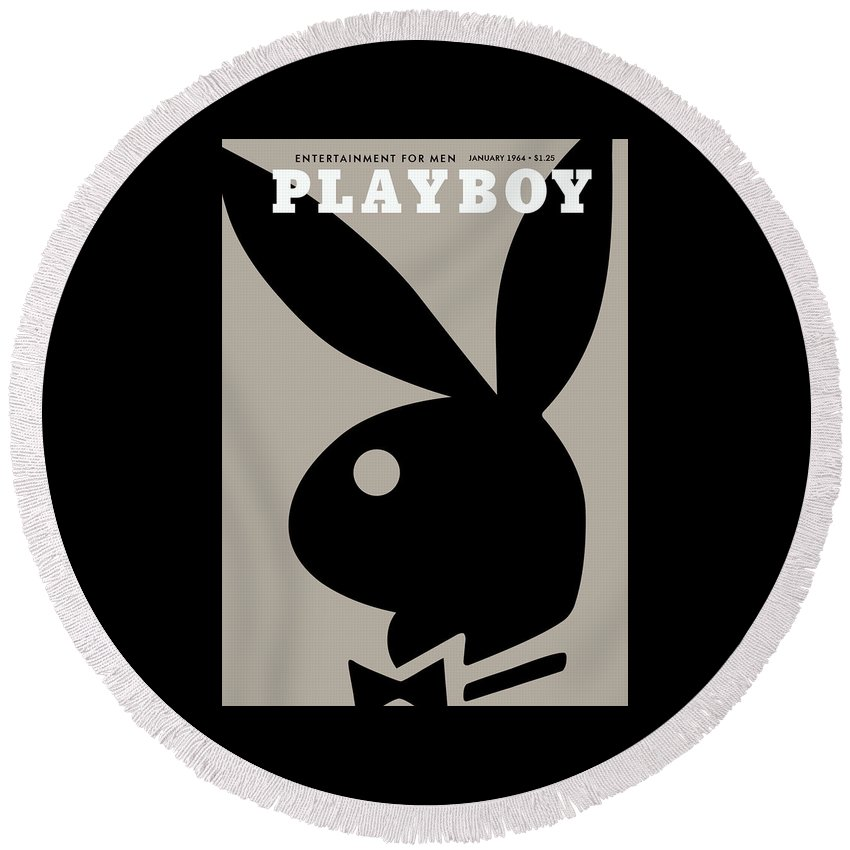 Playboy Round Beach Towel featuring the digital art Playboy, January 1964 by Snowflake Obsidian