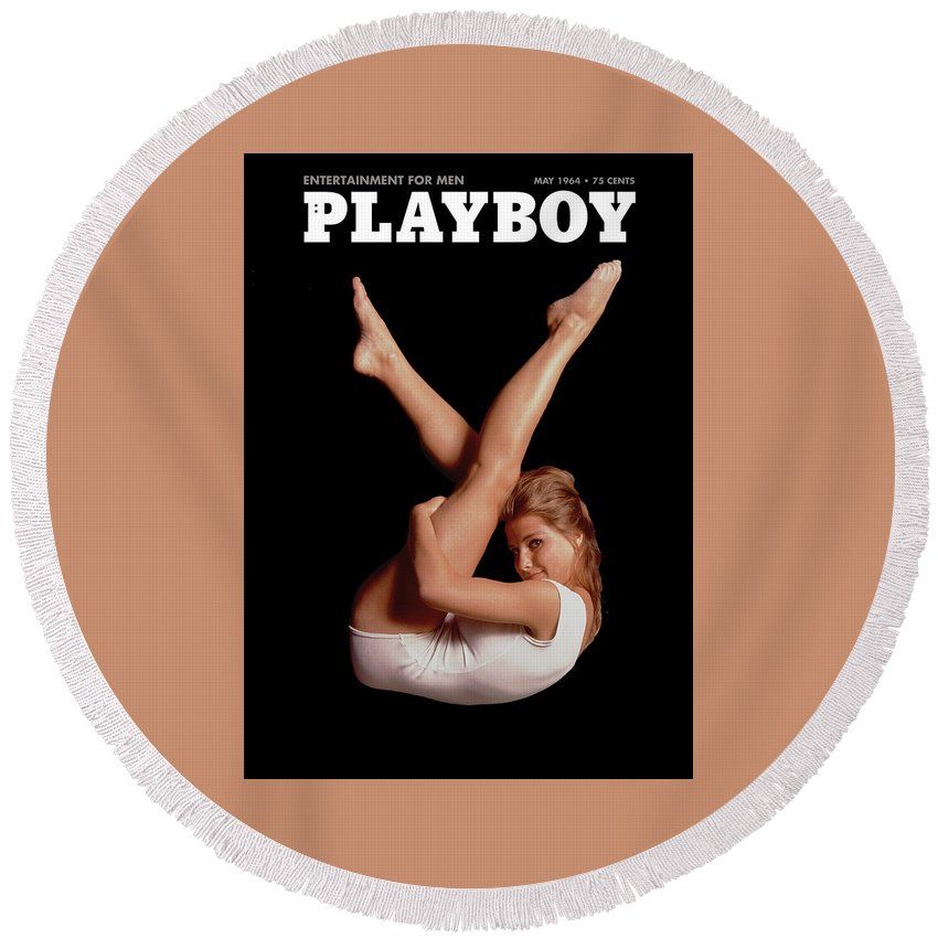 Playboy Round Beach Towel featuring the digital art Playboy, May 1964 by Snowflake Obsidian