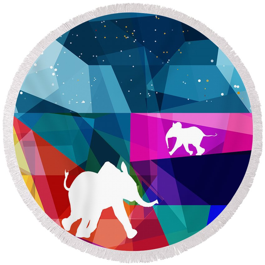 Naive Round Beach Towel featuring the digital art Playful Baby Elephant by Begonia Lafuente