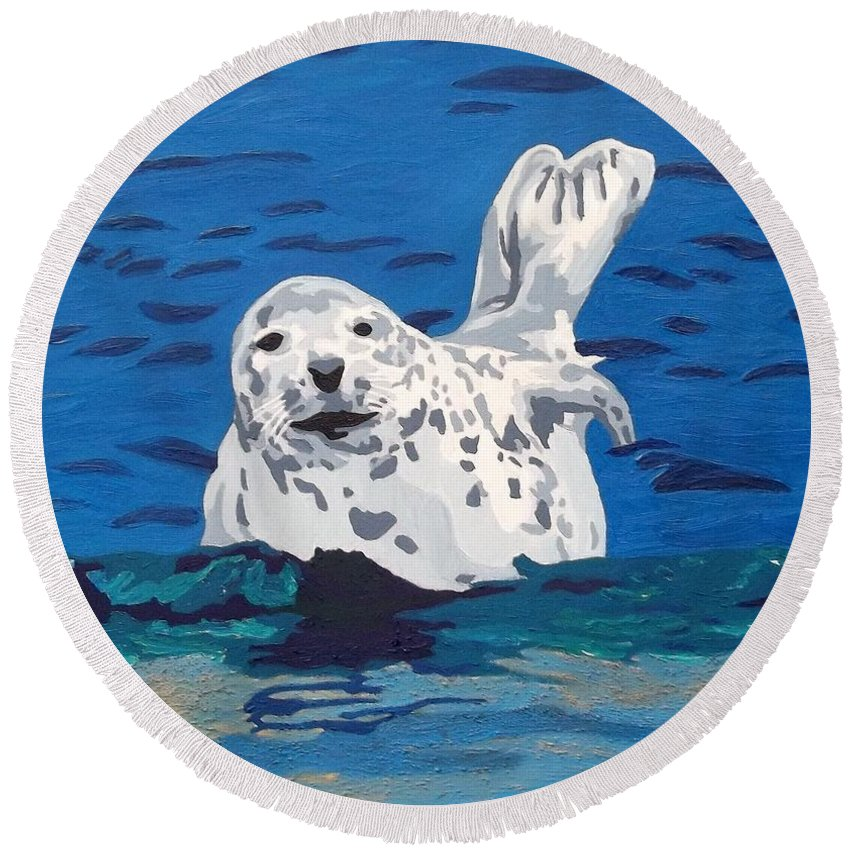 Seal Round Beach Towel featuring the painting Playful Pup by Amy Pugh