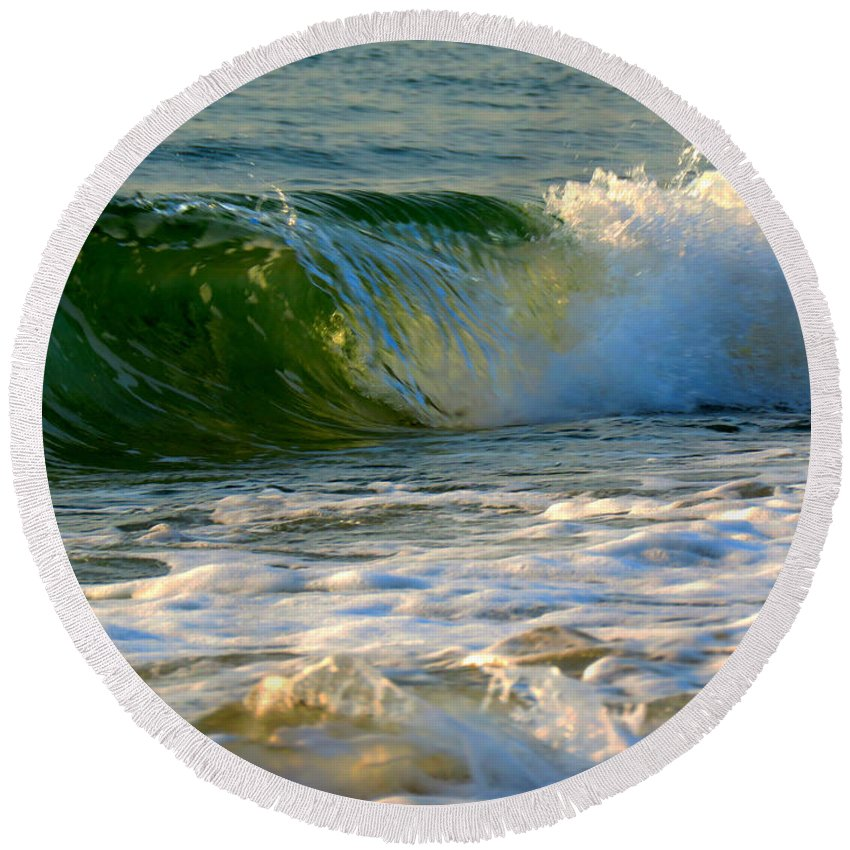 Cape Cod Round Beach Towel featuring the photograph Playful Surf by Dianne Cowen