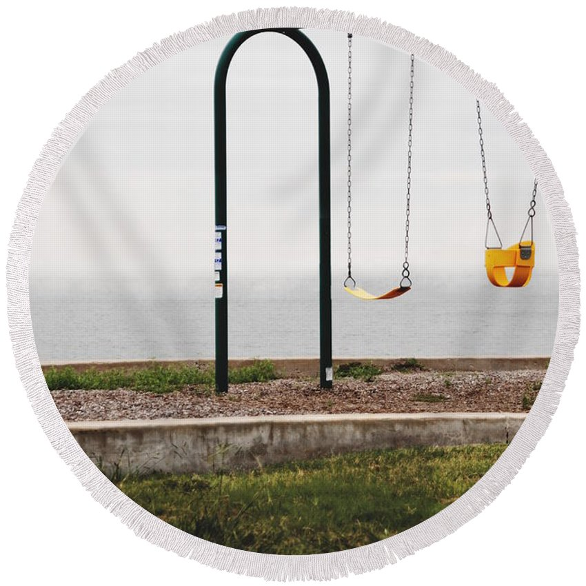 Round Beach Towel featuring the photograph Playground by Emily Miller