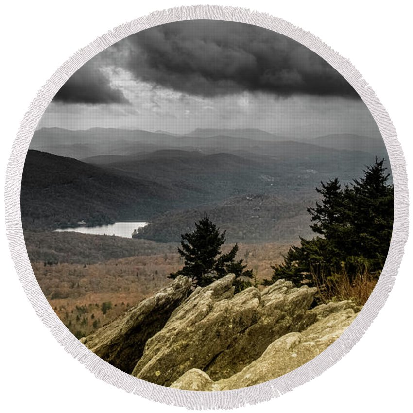 Landscape Round Beach Towel featuring the photograph Playing Away The Gray by Alex Walker