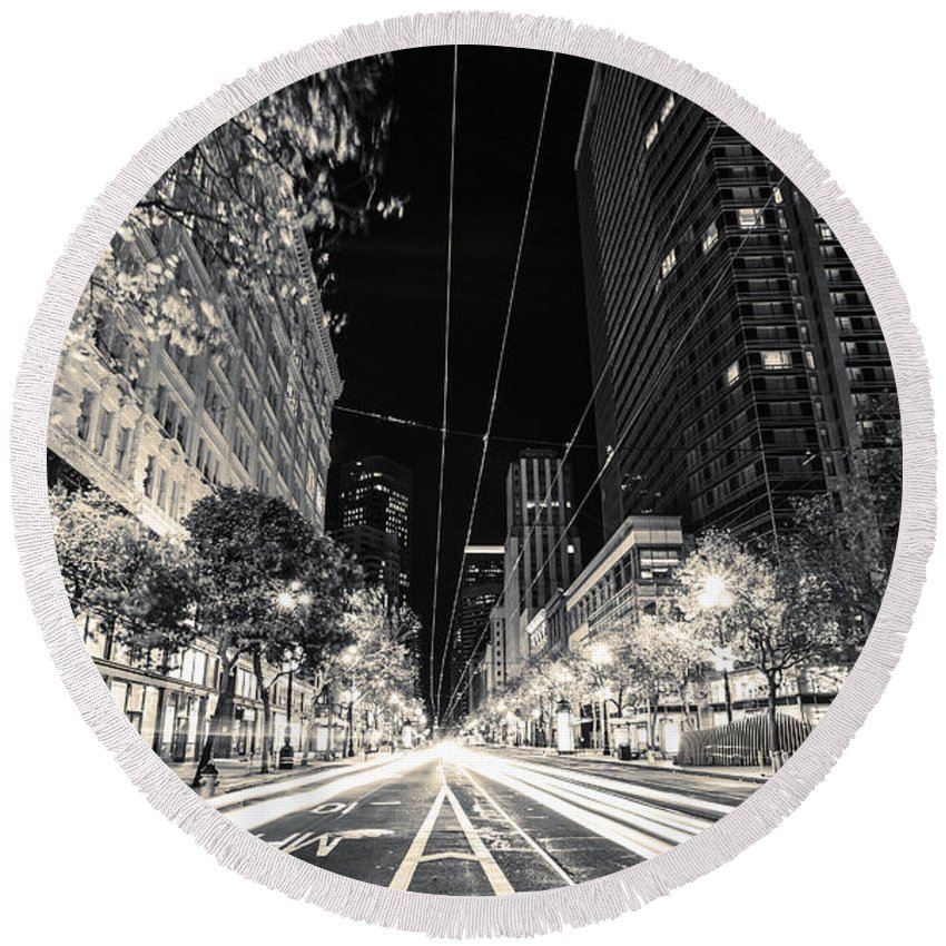 San Francisco Round Beach Towel featuring the photograph Playing In Traffic Blackout by Digital Kulprits