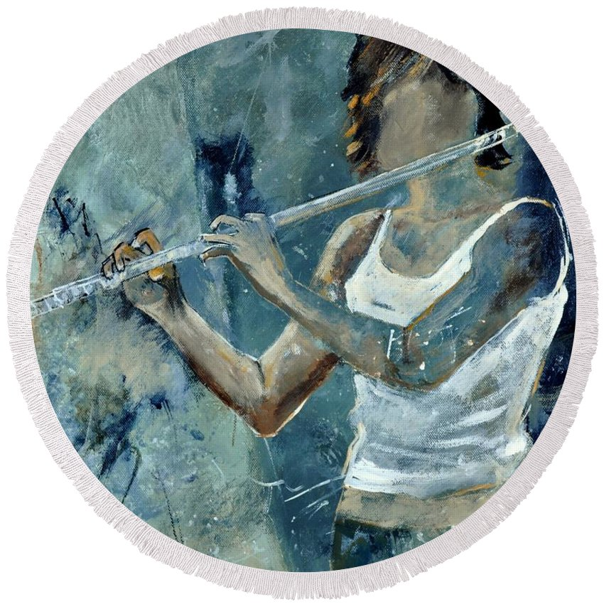 Music Round Beach Towel featuring the painting Playing The Flute by Pol Ledent