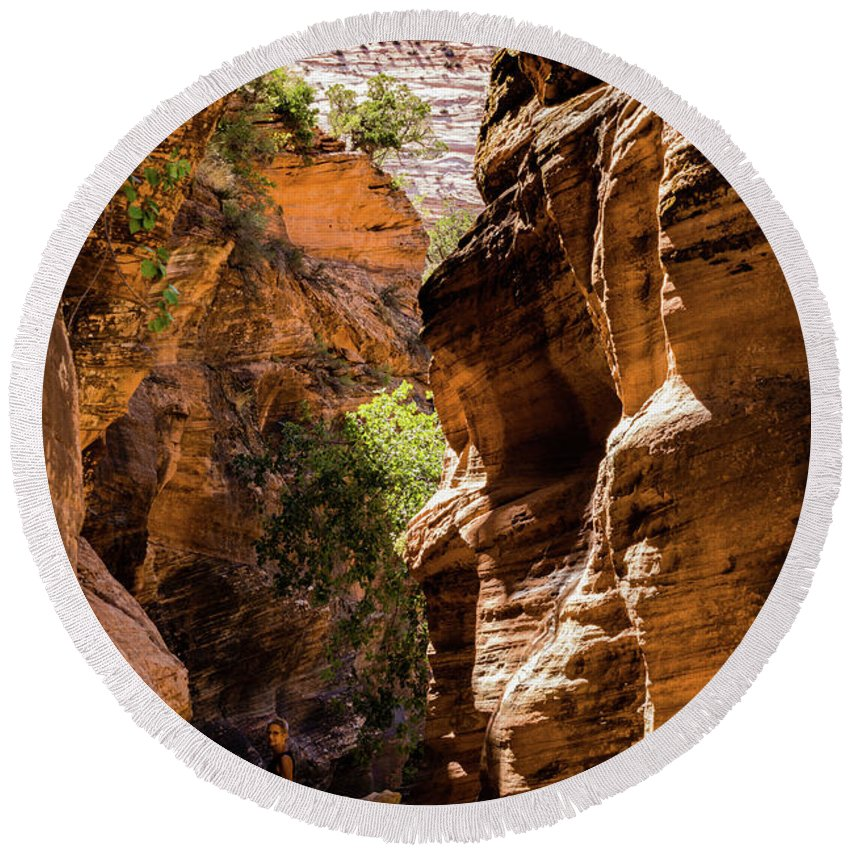 Zion National Park Round Beach Towel featuring the photograph Playing The Slots In Zion by Carol Davis