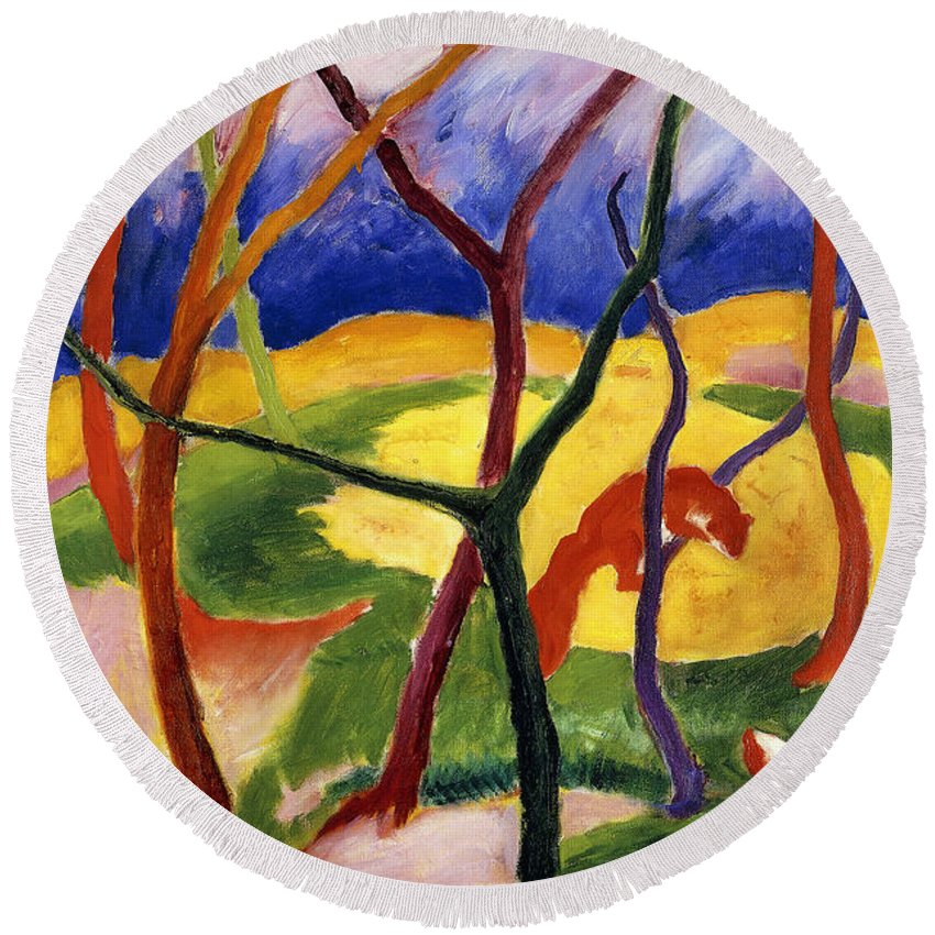 Weasels Round Beach Towel featuring the painting Playing Weasels by Franz Marc