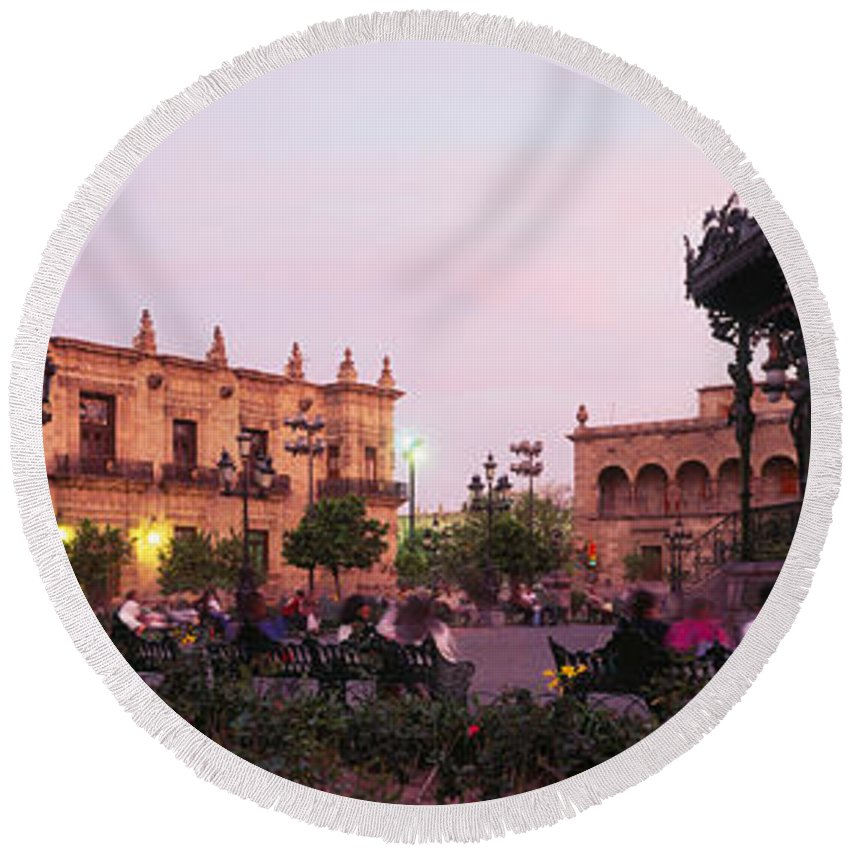Photography Round Beach Towel featuring the photograph Plaza De Armas, Guadalajara, Mexico by Panoramic Images
