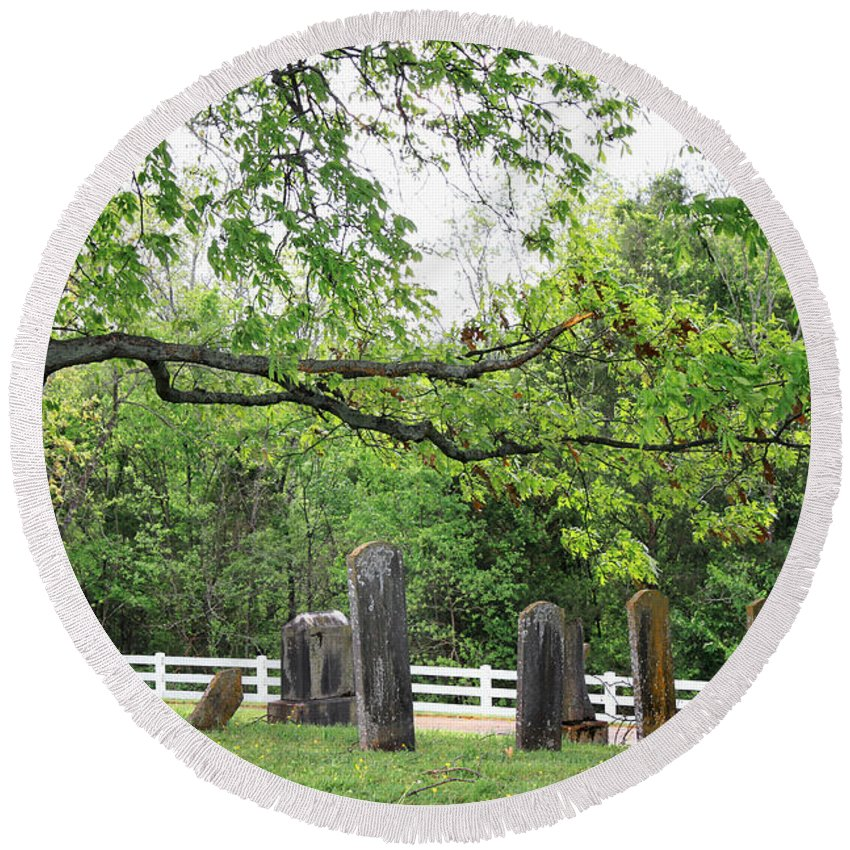 Landscape Round Beach Towel featuring the photograph Pleasant Forest Cemetery by Todd Blanchard