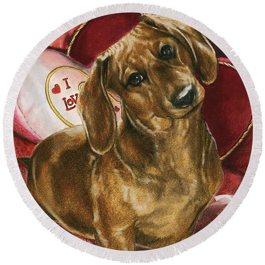 Purebred Round Beach Towel featuring the mixed media Please Be Mine by Barbara Keith