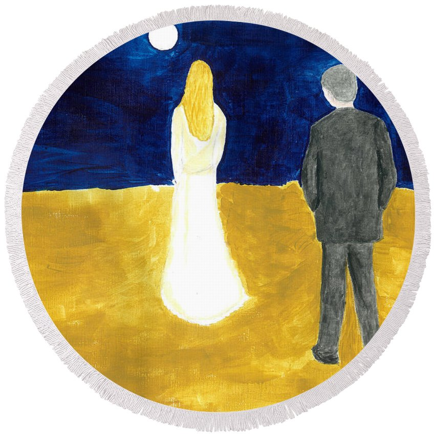 Woman And Man Round Beach Towel featuring the painting Please... by Kate Hopson