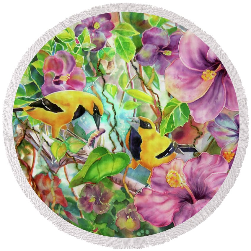 Bird Round Beach Towel featuring the painting Please Share by Deborah Younglao