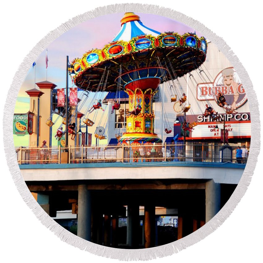Round Beach Towel featuring the photograph Pleasure Pier by Emily Miller