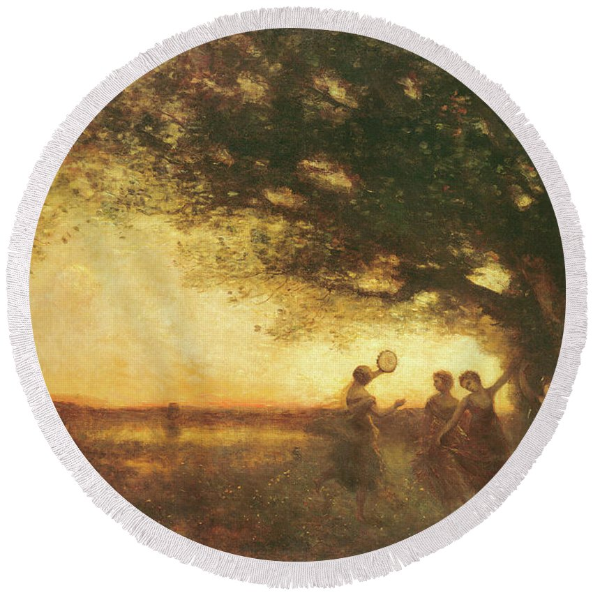 Pleasures Round Beach Towel featuring the painting Pleasures Of The Evening by Jean Baptiste Camille Corot