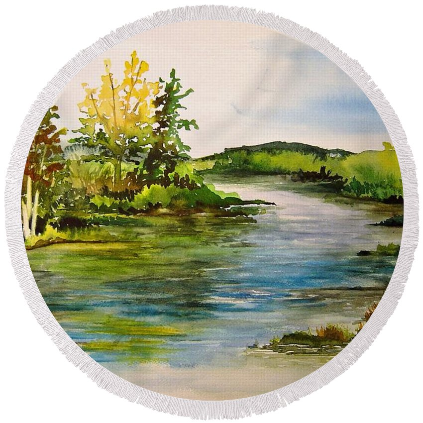 Grand Beach Manitoba Lagoon Round Beach Towel featuring the painting Plein Air At Grand Beach Lagoon by Joanne Smoley