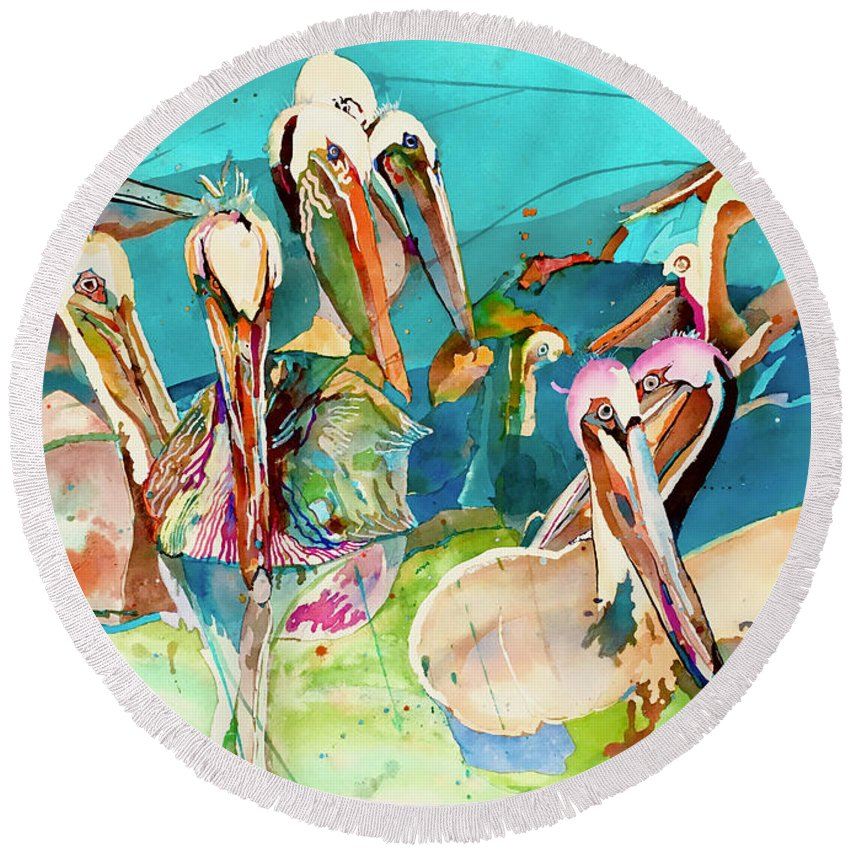 Birds Round Beach Towel featuring the painting Plethora Of Pelicans by Eileen Olson