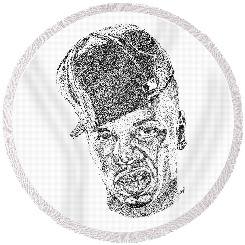 Plies Round Beach Towel featuring the drawing Plies by Marcus Price