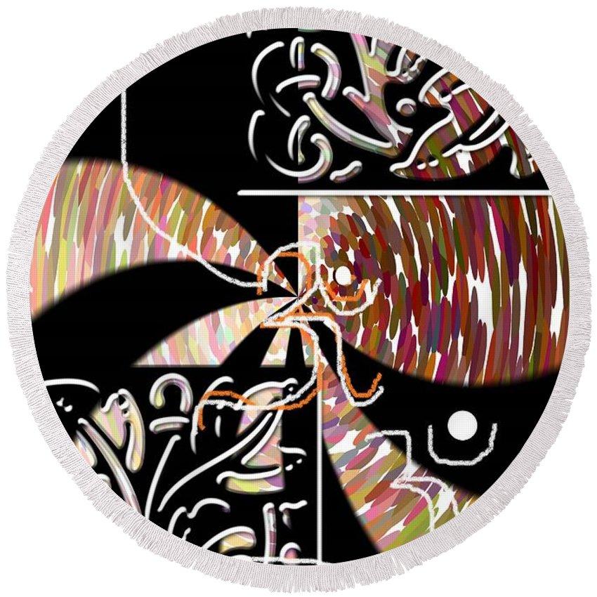 Plum And Black Round Beach Towel featuring the digital art Plum And Black by Rizwana A Mundewadi