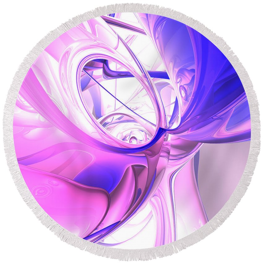 3d Round Beach Towel featuring the digital art Plum Juices Abstract by Alexander Butler