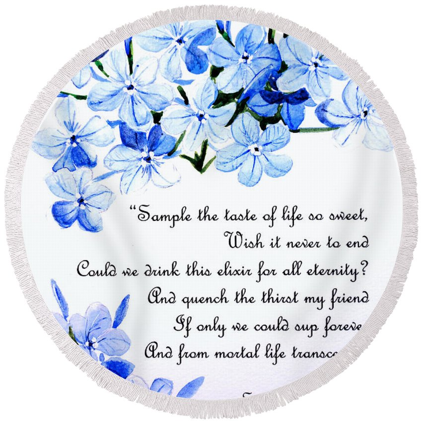 Plumbago Painting Round Beach Towel featuring the painting Plumbago  Poem by Karin Dawn Kelshall- Best