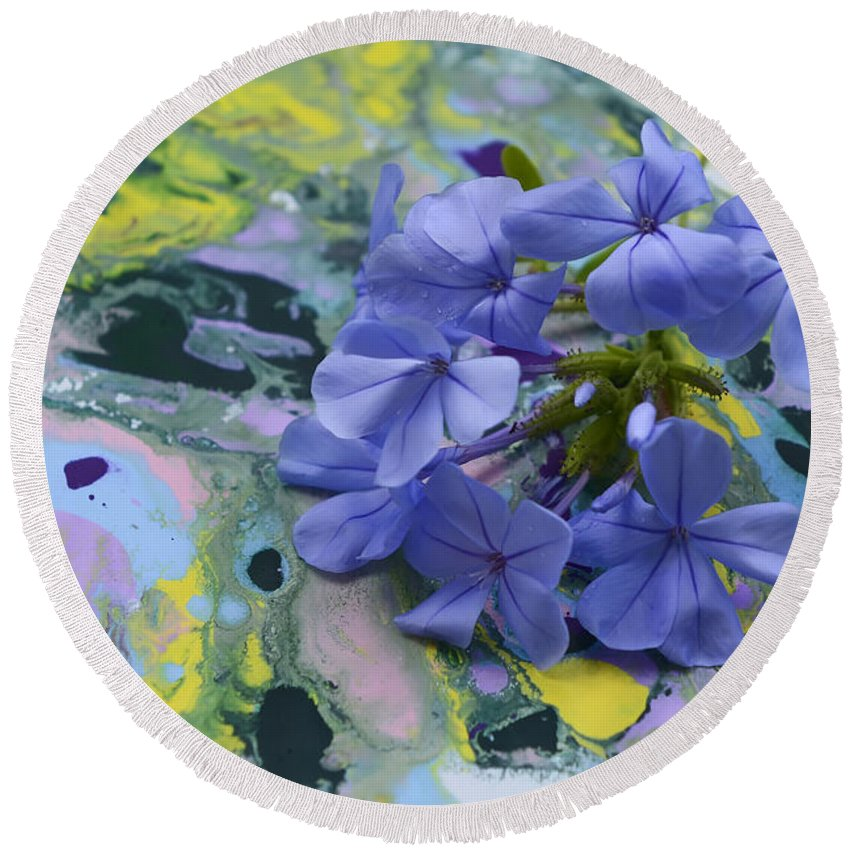 Plumbago Flowers Round Beach Towel featuring the photograph Plumbago Flowers by Olga Hamilton