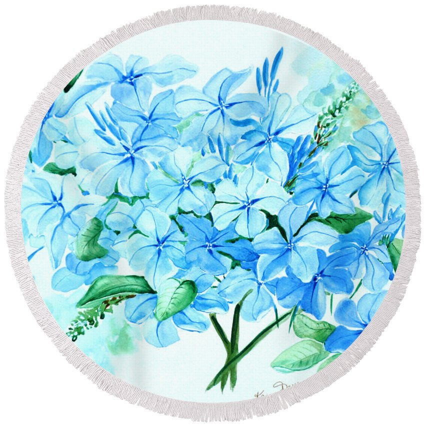 Floral Blue Painting Plumbago Painting Flower Painting Botanical Painting Bloom Blue Painting Round Beach Towel featuring the painting Plumbago by Karin Dawn Kelshall- Best