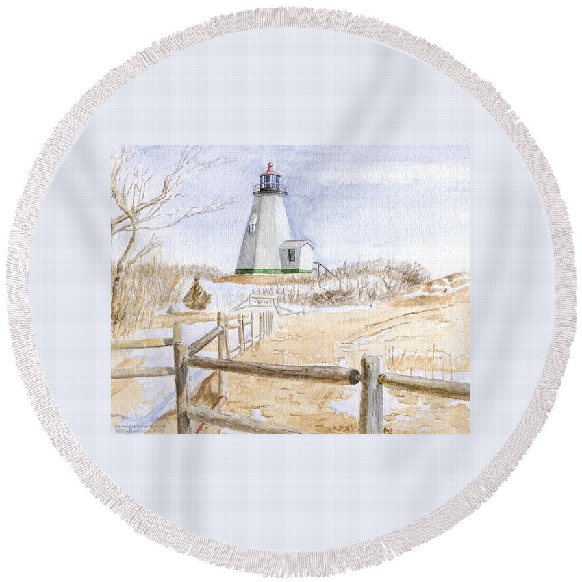 Lighthosue Round Beach Towel featuring the painting Plymouth Light In Winter by Dominic White