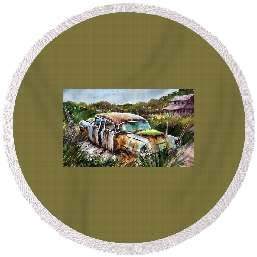 Plymouth Round Beach Towel featuring the painting Plymouth On The Rocks by Ron Morrison
