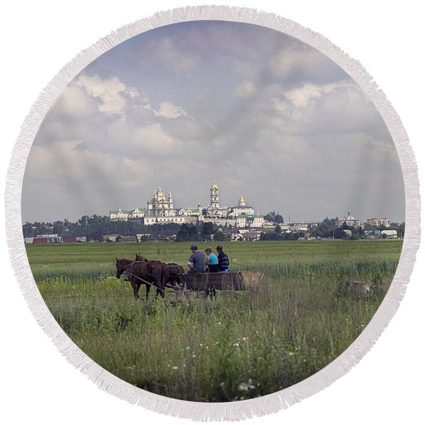 Ukraine Round Beach Towel featuring the photograph Pochaiv Monastery Ukraine by Yuri Lev