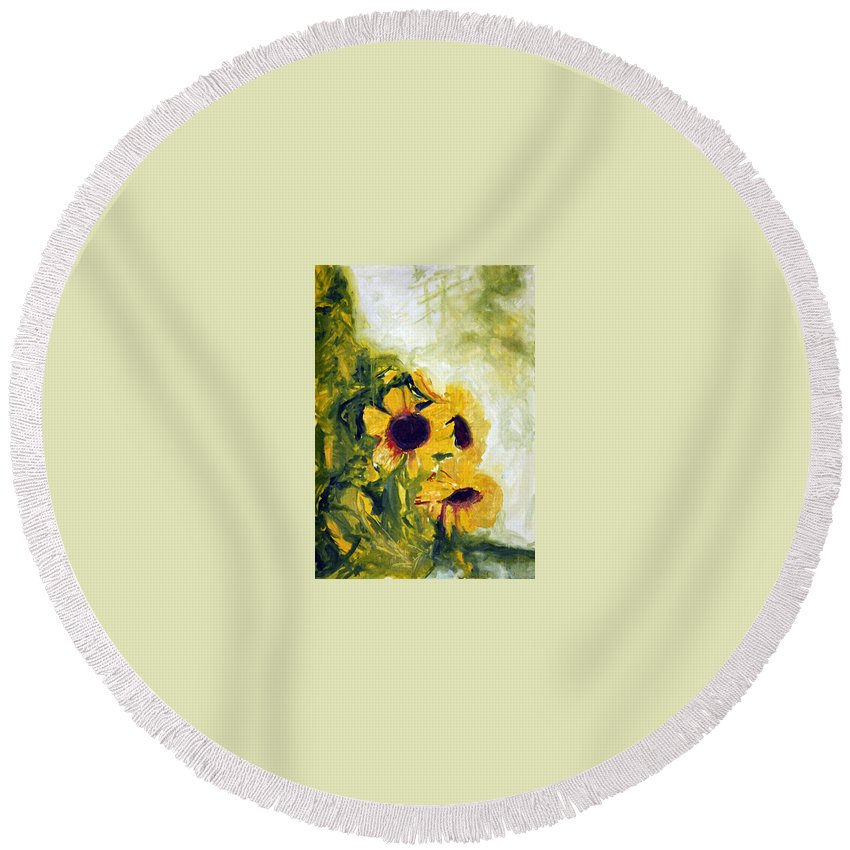 Landscape Round Beach Towel featuring the painting pocta VvG-scetch n-1 by Pablo de Choros