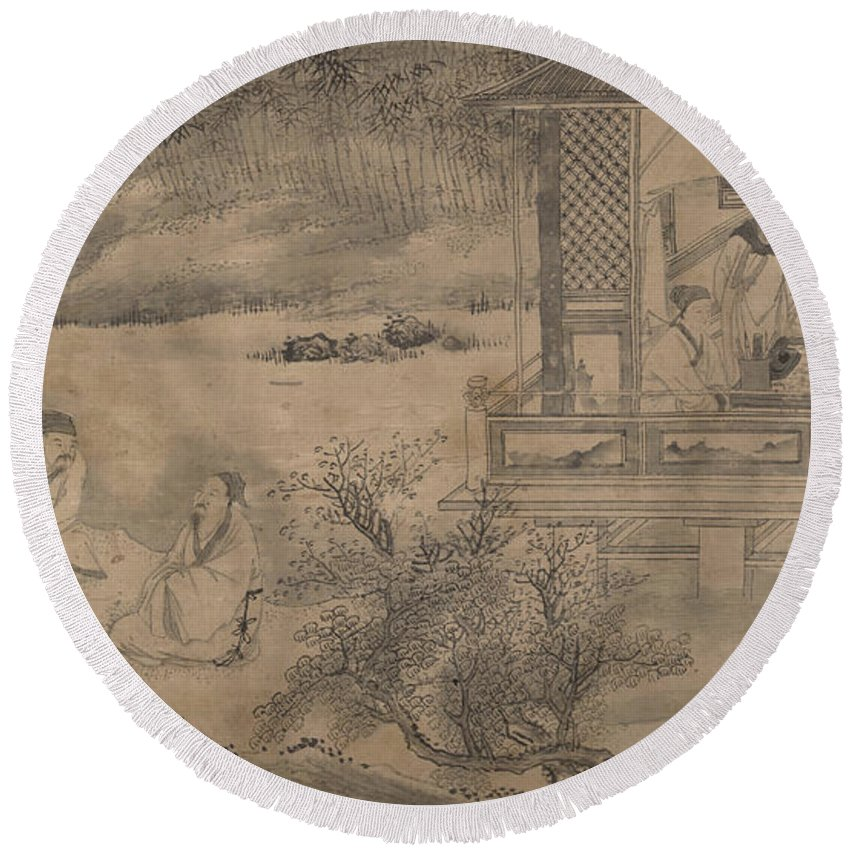 Qian Gong Poets Gathering In The Orchid Pavilion Round Beach Towel featuring the painting Poets Gathering In The Orchid Pavilion by Qian Gong