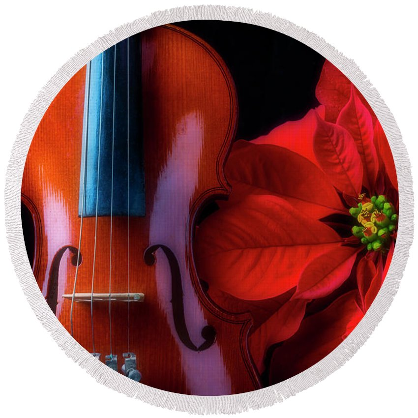 Red Poinsettia Round Beach Towel featuring the photograph Poinsettia And Violin by Garry Gay