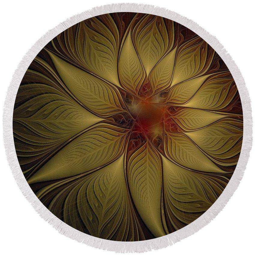 Digital Art Round Beach Towel featuring the digital art Poinsettia In Gold by Amanda Moore