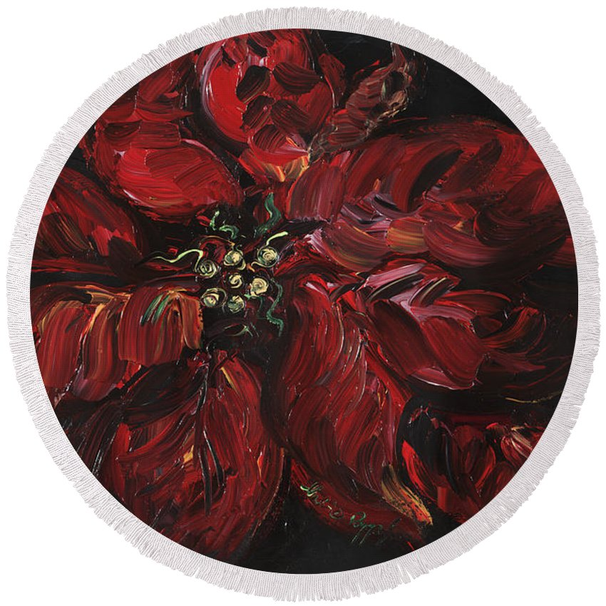 Abstract Round Beach Towel featuring the painting Poinsettia by Nadine Rippelmeyer