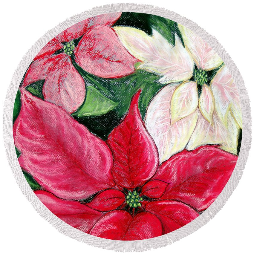 Poinsettia Round Beach Towel featuring the pastel Poinsettia Pastel by Nancy Mueller