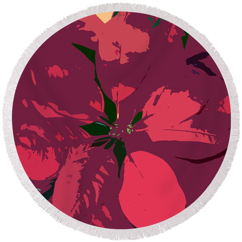 Poinsettias Round Beach Towel featuring the photograph Poinsettias Work Number 4 by David Lee Thompson