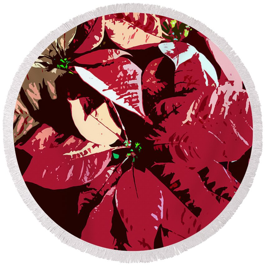 Poinsettias Round Beach Towel featuring the photograph Poinsettia's Work Number 7 by David Lee Thompson