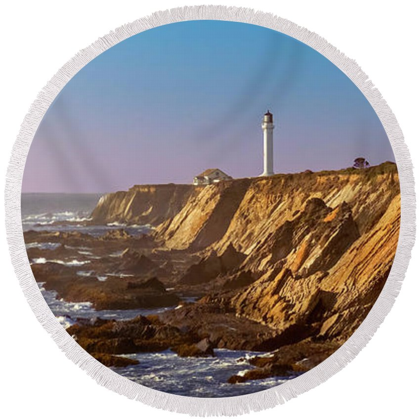 Route 1 Round Beach Towel featuring the photograph Point Arena by Greg Reed