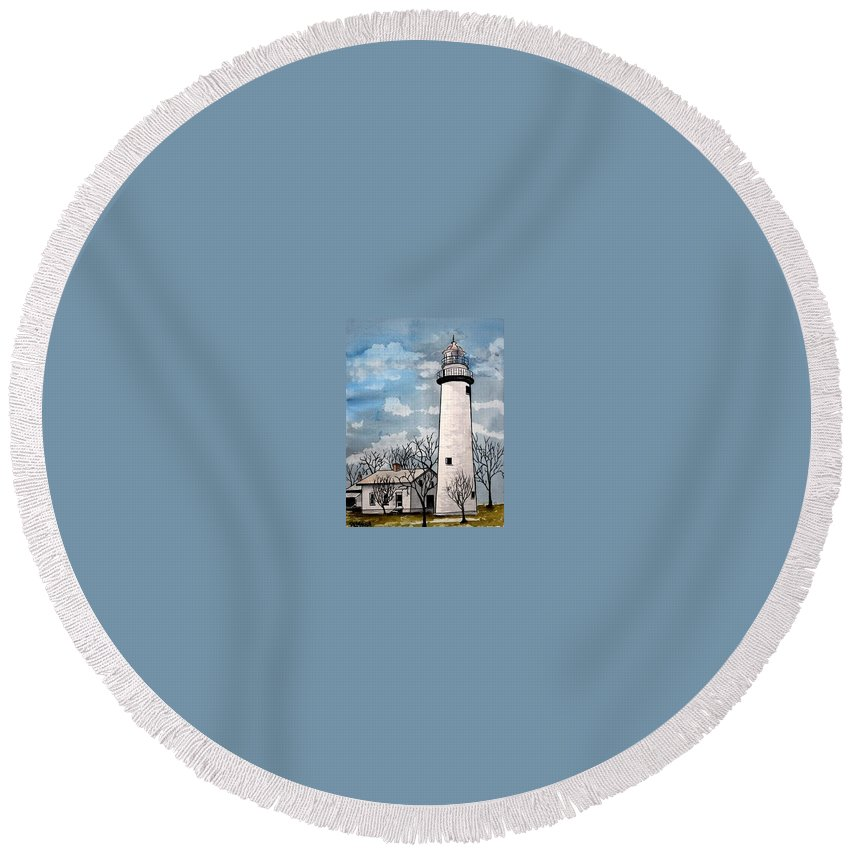 Lighthouse Painting Round Beach Towel featuring the painting Point Aux Barques Lighthouse by Derek Mccrea
